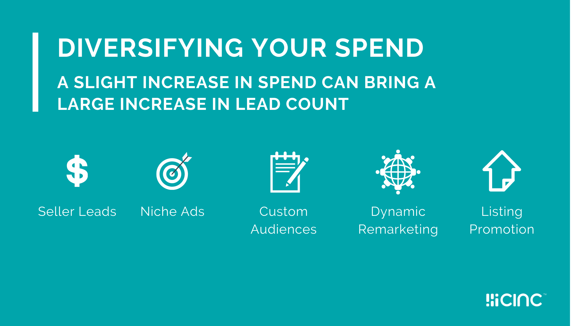 CINC recommends diversifying ad spend across multiple networks.